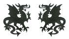 1 Paar Applikationen Wappen Drachen 14,4 x 10cm Farbe: Schwarz
