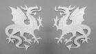 1 Paar Applikationen Wappen Drachen 14,4 x 10cm Farbe: Weiss