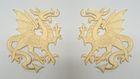 1 Paar Applikationen Wappen Drachen 14,4 x 10cm Farbe: Beige