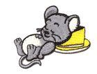 Applikation Patch Sticker schlafende, satte Maus am Käse 5,8 x 4,2cm
