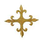 Applikation Fleur de Lis Kreuz 6,5 x 6,5cm Farbe: Lurex-Gold