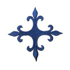 Applikation Fleur de Lis Kreuz 8 x 8cm Farbe: Dunkelblau