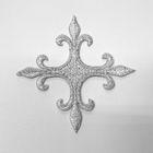 Applikation Fleur de Lis Kreuz 6,5 x 6,5cm Farbe: Lurex-Silber
