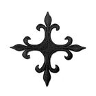 Applikation Fleur de Lis Kreuz 6,5 x 6,5cm Farbe: Schwarz