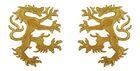 1 Paar Applikationen Wappen Wolf 16,8 x 9,4cm Farbe: Lurex-Gold