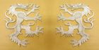 1 Paar Applikationen Wappen Wolf 16,8 x 9,4cm Farbe: Lurex-Silber