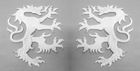 1 Paar Applikationen Wappen Wolf 16,8 x 9,4cm Farbe: Weiss