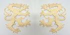 1 Paar Applikationen Wappen Wolf 16,8 x 9,4cm Farbe: Beige