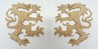 1 Paar Applikationen Wappen Wolf 16,8 x 9,4cm Farbe: Hellbraun