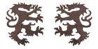 1 Paar Applikationen Wappen Wolf 16,8 x 9,4cm Farbe: Dunkelbraun