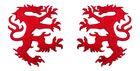1 Paar Applikationen Wappen Wolf 16,8 x 9,4cm Farbe: Rot