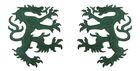 1 Paar Applikationen Wappen Wolf 16,8 x 9,4cm Farbe: Dunkelgrün