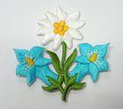 1 Stück Edelweiss-Applikationen Wiesn Trachten Farbe: Türkis