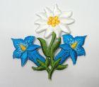 1 Stück Edelweiss-Applikationen Wiesn Trachten Farbe: Hellblau