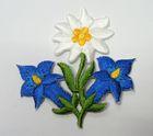 1 Stück Edelweiss-Applikationen Wiesn Trachten Farbe: Blau