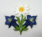 1 Stück Edelweiss-Applikationen Wiesn Trachten Farbe: Dunkelblau