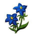 1 Stück Enzian-Applikationen Wiesn Trachten 5,4 x 4cm Farbe: Blau