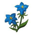 1 Stück Enzian-Applikationen Wiesn Trachten 5,4 x 4cm Farbe: Hellblau
