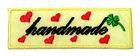 1 Stück Etikett Applikationen Handmade zum Aufbügeln 5,6 x1,8cm Farbe: Gelb