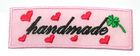 1 Stück Etikett Applikationen Handmade zum Aufbügeln 5,6 x1,8cm Farbe: Rosa