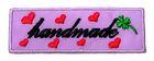 1 Stück Etikett Applikationen Handmade zum Aufbügeln 5,6 x1,8cm Farbe: Lila