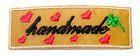 1 Stück Etikett Applikationen Handmade zum Aufbügeln 5,6 x1,8cm Farbe: Braun