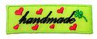 1 Stück Etikett Applikationen Handmade zum Aufbügeln 5,6 x1,8cm Farbe: Neongrün