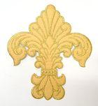 Applikation Patch Königslilie Fleur de Lis 6,5 x 7,5cm Farbe: Lurex-Gold