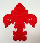 Applikation Patch Königslilie Fleur de Lis 6,5 x 7,5cm Farbe: Rot