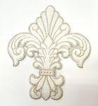 Applikation Patch Königslilie Fleur de Lis 6,5 x 7,5cm Farbe: Lurex-Silber