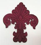 Applikation Patch Königslilie Fleur de Lis 6,5 x 7,5cm Farbe: Bordeaux