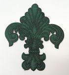 Applikation Patch Königslilie Fleur de Lis 6,5 x 7,5cm Farbe: Tannengrün