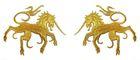 1 Paar Applikationen Wappen Einhorn 13 x 5,8cm Farbe: Lurex-Gold