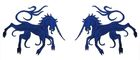 1 Paar Applikationen Wappen Einhorn 13 x 5,8cm Farbe: Dunkelblau
