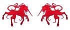 1 Paar Applikationen Wappen Einhorn 13 x 5,8cm Farbe: Rot