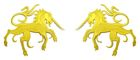 1 Paar Applikationen Wappen Einhorn 13 x 5,8cm Farbe: Gelb