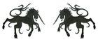 1 Paar Applikationen Wappen Einhorn 13 x 5,8cm Farbe: Schwarz