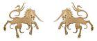 1 Paar Applikationen Wappen Einhorn 13 x 5,8cm Farbe: Hellbraun