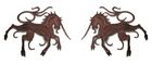1 Paar Applikationen Wappen Einhorn 13 x 5,8cm Farbe: Dunkelbraun