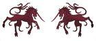 1 Paar Applikationen Wappen Einhorn 13 x 5,8cm Farbe: Bordeaux
