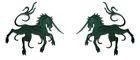 1 Paar Applikationen Wappen Einhorn 13 x 5,8cm Farbe: Tannengrün