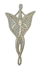 Applikationen Amulett Star Elben 3,6 x 7,1cm Farbe: Lurex-Silber