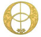Applikationen Amulett Chalice Well  7 x 7cm Farbe: Lurex-Gold