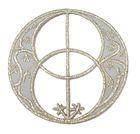 Applikationen Amulett Chalice Well  7 x 7cm Farbe: Lurex-Silber