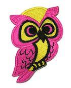 1 Stück Applikation Eule 4,5 x 7,6cm Farbe: Pink-Gelb