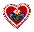Landhaus Trachten Applikation Wiesn Herz Edelweiss mit Enzian 4,5 x 4,3cm
