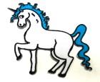 Applikationen Patch Pferd Einhorn 9 x 8,5cm Farbe: Weiss-Blau