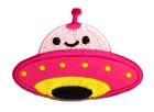 1 Applikationen Patch Sticker UFO 8 x 5,8cm Farbe: Rosa-Pink-Gelb