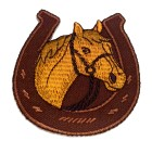 Applikationen Patch Pferd mit Hufeisen 7 x 7,5cm Farbe: Braun