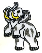 Applikationen Patch Elefant 5 x 9cm Farbe: Weiss-Grau